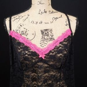 George lace pink black night gown C316:7:719